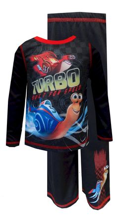 Turbo and Burn Built for Speed Toddler Pajamas Get ready for the race to begin! With these fun toddler pajamas for boys, you are sure to see some fast footwork in the house. The pajamas feature Turbo and Burn from the Dreamworks film on the top, with contrasting red stitching for a nice detail. The leg has an image of Turbo at the bottom. These 100% polyester pajamas are flame resistant for safety.