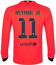 NIKE NEYMAR JR FC BARCELONA LONG SLEEVE AWAY JERSEY 2014 15 FOOTBALL LA LIGA f90fba4c88871