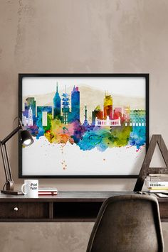 Mexico city print Mexico city watercolor print by iPrintPoster