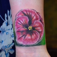 Custom Pansy Tattoo By Joshua Doyon (IG:@InkedUpGing)