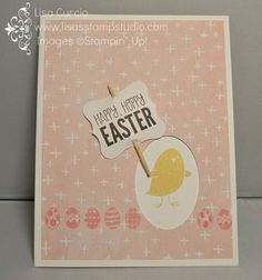 An adorable Easter card with a peek-a-boo window. Stampin' Up!, For Peeps Sake, XL oval punch, Sale-A-Bration, 2015, Best Day Ever designer paper, card, paper, scrapbook, craft, rubber, stamps, spring, chick, www.lisasstampstudio.com