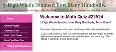 "This is an image from this resource on the Internet4Classrooms' ""Second Grade Math help on standardized tests, place value"" resource page:    3-Digit Whole Number: How Many Hundreds, Tens, Ones?    Online quiz that is self checking."