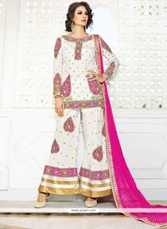 Intricate Fancy Fabric White Designer Palazzo Salwar Kameez Model: YOS9082