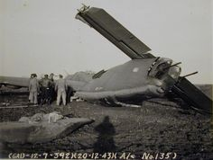 """B-24H-1-CF, 392nd BG, 579th BS, """"Last Frontier"""" crash landed at Wendling, UK, after three engines stopped. 1 killed."""