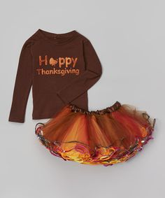 Look at this #zulilyfind! Brown 'Happy Thanksgiving' Tee & Skirt - Toddler & Girls #zulilyfinds