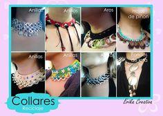 Collares hechos con material de reciclaje/Recycled material necklaces