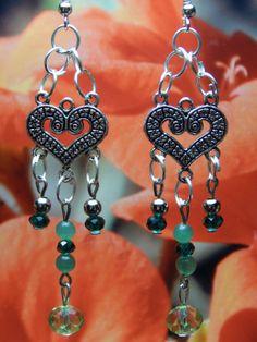 Silver Heart Dangle Earrings with Swarovski by MURPHYSTREASURES, $10.00