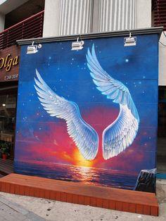 Street Art from Seoul Area, South Korea. Photo by Mark Johnson 52 - Art: Taking Flight - Street Art Utopia, Murals Street Art, Wall Painting Decor, Mural Wall Art, Wood Wall Design, Angel Wings Art, Mark Johnson, Graffiti Drawing, Bright Art