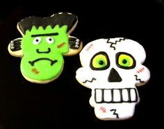Upside down gingerbread and snowman - frankenstein and skeleton/skull