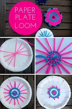 Weave yarn to make coasters or doll rugs on paper plate loom.Learn how to weave yarn to make coasters or doll rugs. and you don't need a loom, just a paper plate! Should you have a passion for arts and crafts you will love our site!Want a low-cost loom ac Kids Crafts, Summer Crafts, Crafts To Do, Arts And Crafts, Crafts With Yarn, Creative Crafts, Cardboard Crafts Kids, Quick Crafts, Creative Activities