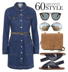 """60 Second Style: Denim Shirt Dress"" by alaria ❤ liked on Polyvore featuring Violeta by Mango, Topshop, MANGO, Mulberry, Le Specs, shirtdress and denimshirtdress"