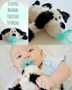 Turn a small stuffed animal into a cuddly stuffed animal pacifier (like a WubbaNub) with these simple steps. Tutorial by a lemon squeezy home.