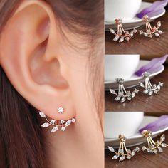 Fashion Women Crystal Leaf Ear Stud Earrings Rose Gold Back Cuff Earring Jewelry