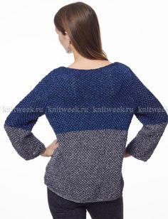 Двухцветный пуловер - Фото 1