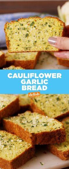 Garlic Bread Our Cauliflower Garlic Bread proves that bread is overrated.Our Cauliflower Garlic Bread proves that bread is overrated. Gluten Free Recipes, Low Carb Recipes, Vegan Recipes, Cooking Recipes, Banting Recipes, Vegetarian Cooking, Cauliflower Garlic Bread, Cauliflower Recipes, Gluten Free Garlic Bread