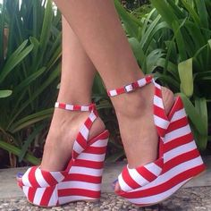 Fashion platform red and white #shoes #shoeshighheelsfancy