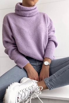 Lilac Roll Neck Soft Knitted Jumper – The Best Ideas Mode Outfits, New Outfits, Trendy Outfits, Girl Outfits, Office Outfits, Basic Outfits, Casual Winter Outfits, Winter Fashion Outfits, Look Fashion
