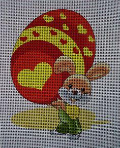 Needlepoint canvas 'Easter Bunny & Gift Egg'