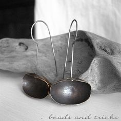 Forged copper and sterling silver earrings | Handmade by Beads and Tricks