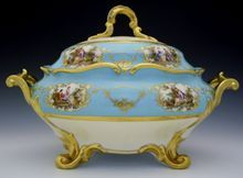 Large Vintage Porcelain Tureen Celeste Blue Aqua Gold German