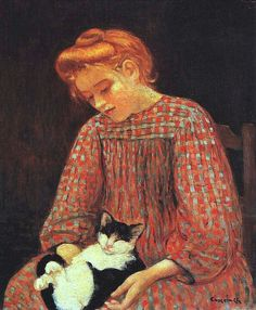 Camoin, Charles (French, 1879-1965) - Girl with Cat