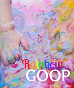 Make beautiful rainbow goop for sensory play with toddlers and preschoolers! Perfect for spring or St. Patrick's Day! {One Time Through} #StPatricksDay