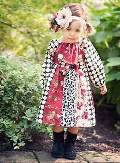 Items similar to Fall into Love Romantic Stripwork Peasant Dress Red Floral Dots Bow on Etsy Little Girl Outfits, Kids Outfits, Girls Boutique Dresses, Girls Dresses, Pinterest Girls, Children's Boutique, Sewing For Kids, Decoration, Vintage Outfits