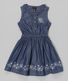 Love this Navy 'Calvin Klein Jeans' Ruched Dress - Infant, Toddler & Girls by Calvin Klein Jeans on #zulily! #zulilyfinds