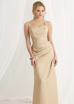 2015 Straps Champagne Sleeveless Appliques Ruched Satin Floor Length Bridesmaid / Prom Dresses By Jordan 469