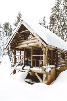 I don't ask much of my Alaska cabin except a covered porch to watch the rain and drink my coffee. Log Cabin Living, Log Cabin Kits, Log Cabin Homes, Tiny Cabins, Cabins And Cottages, Log Cabins, Winter Cabin, Cozy Cabin, Snow Cabin