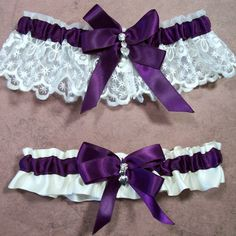 Wedding Garter, Bridal Garter Set, Plum on Ivory Keepsake Garter, Plum Ivory Toss Garter, Bow with Rhinestone and Hearts Charm
