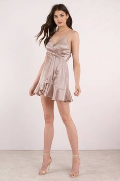 Just Like Us Taupe Satin Wrap Dress Sexy Skirt, Dress Skirt, Wrap Dress, Satin Dresses, Sexy Dresses, Short Dresses, Rose Dress, Silk Dress, Sexy Outfits