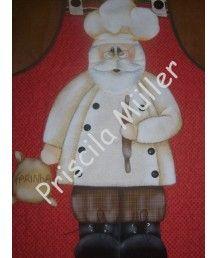 Projeto de Avental Papai Noel Cozinheiro
