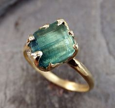 Raw Green Tourmaline Gold Ring Rough Uncut Gemstone by byAngeline---ridiculously beautiful! Jewelry Show, Old Jewelry, Cute Jewelry, Jewlery, Gold Rings, Gemstone Rings, Wax Carving, Minerals And Gemstones, Green Tourmaline