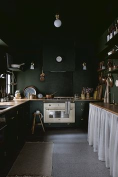 Kitchen Interior A Serene Apartment in Hong Kong with a Dramatic Kitchen - The Nordroom. Kitchen Interior A Serene Apartment in Hong Kong with a Dramatic Kitchen - The Nordroom Bohemian Apartment, Vintage Apartment, Scandinavian Apartment, Scandinavian Home, Scandinavian Christmas, Christmas Decor, Green Velvet Sofa, Decoration Inspiration, Design Inspiration