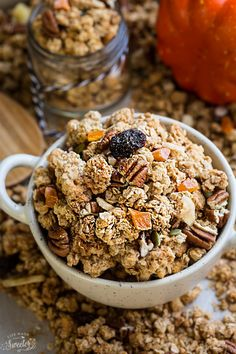 Crunchy Pumpkin Granola Clusters makes the perfect healthy breakfast or snack for lunchboxes or on the go and after workouts! Best of all, this recipe is so easy to make and is gluten free and refined sugar free.
