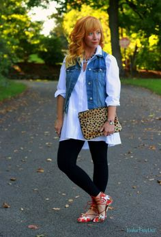Fashion Fairy Dust style blog: White Tunic, floral lace up flats, denim vest, leopard clutch, black leggings, casual outfit, fall outfit