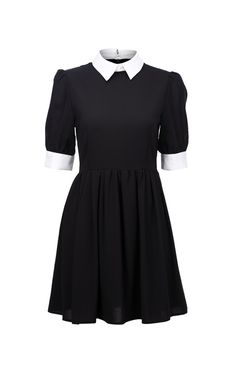 black and white wednesday addams dress with peter pan collar. black with white collar. andrastea dress. THE CULTLABEL. #gothic