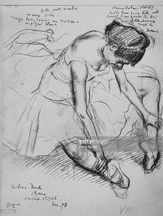 Melina Darde Seated sketch of a dancer done by Edgar Degas.