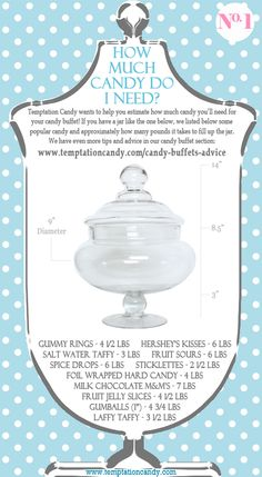 Planning a candy buffet? Hopefully if you have a jar like the one in this image this will be helpful in determining how many pounds of candy you will need to fill the jar up. More advice in Temptations Candys Candy Buffet Advice and Tips section. Were here to help you put together a beautiful candy buffet and help you save money! #Candybuffet More