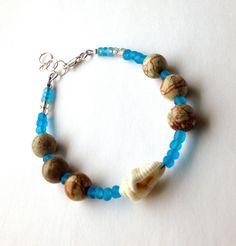 Beach Bracelet , Picture Jasper Bracelet, Sea Shell Bracelet, Blue Boho Bracelet, Gift for Him Gift for Her, Anniversary Gift, Birthday Gift https://www.etsy.com/listing/277115444/beach-bracelet-picture-jasper-bracelet?utm_campaign=crowdfire&utm_content=crowdfire&utm_medium=social&utm_source=pinterest