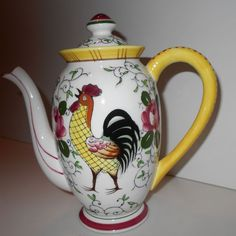 Ucago Early Provincial Rooster & Roses Mini Coffee Pot Teapot, Child's, ExC