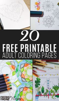 Here are 20 free printable adult coloring pages. Who says coloring is just for…