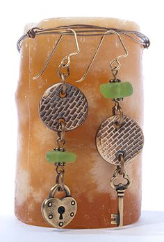 Lock & Key Earrings featuring TierraCast Heart Lock and Key charms and 4mm Beaded spacers. Design by Tracy Gonzales for TierraCast.