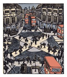 """Tobias Till ~ """"X"""" X-Crossing from London A-Z Complete Boxed Set (2012) ~ Linocut, Somerset satin 250 gsm paper, 41.5 x 37.5 cm"""