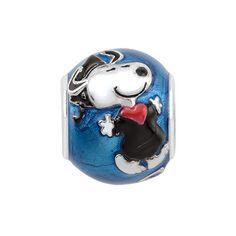 1e2c8556c Persona® Sterling Silver Peanuts® Blue Enamel Snoopy Graduation Cap and  Gown Bead Graduation Cap