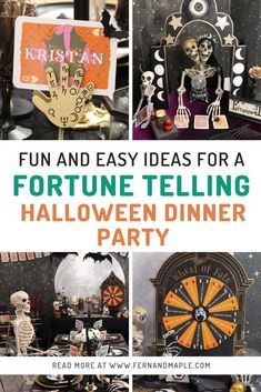 Host a Fortune Telling Halloween Dinner Party complete with DIY fortune-teller booth, tarot place cards, and a ouija-inspired serving tray! Get all the details at fernandmaple.com!