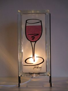 Wine lamp glass block lamp FREE SHIPPING upcycled handmade glass block night light.  wedding gift, bar decor, kitchen lamp, upcycled kitchen