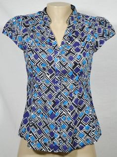 BANANA REPUBLIC Blue/Black/White Patterned Blouse Shirt Small Cap Sleeves Cotton…