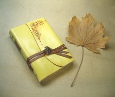 Journal - Yellow Leather Journal - Flower Diary, Fall / Autumn Rustic Notebook - Hand Painted - A Home for Thoughts